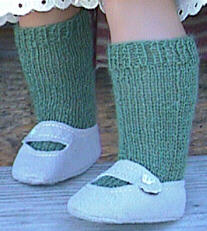 Plain green knee socks