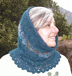 My sister Jeanne, modeling the Leaf Lace Hood