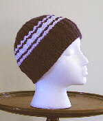 [Snug beanie style cap with stripes.]
