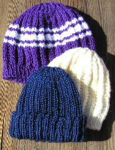 [Three variations of the ribbed cap pattern]